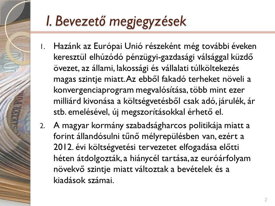 I. Bevezető megjegyzések 1. Hazánk az Európai Unió részeként még további éveken keresztül elhúzódó pénzügyi-gazdasági válsággal küzdő övezet, az állam