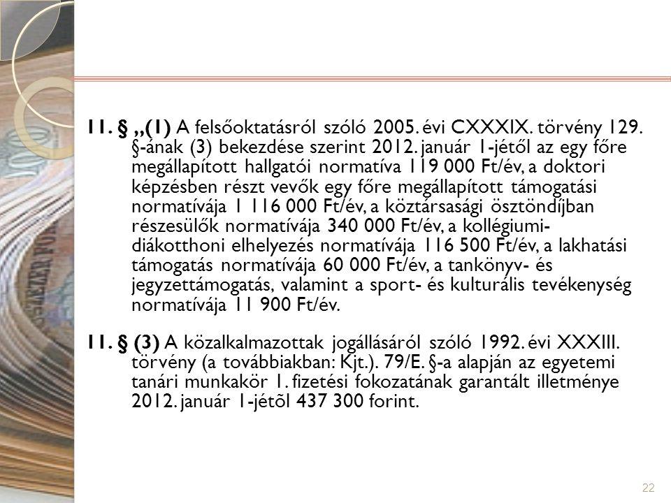 """22 11. § """"(1) A felsőoktatásról szóló 2005. évi CXXXIX. törvény 129. §-ának (3) bekezdése szerint 2012. január 1-jétől az egy főre megállapított hallg"""