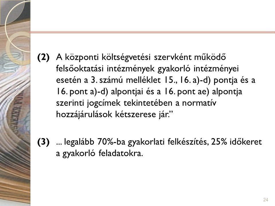 24 (2) A központi költségvetési szervként működő felsőoktatási intézmények gyakorló intézményei esetén a 3. számú melléklet 15., 16. a)-d) pontja és a