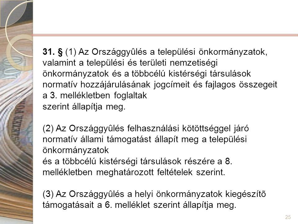25 31. § (1) Az Országgyûlés a települési önkormányzatok, valamint a települési és területi nemzetiségi önkormányzatok és a többcélú kistérségi társul