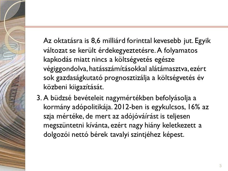 Az oktatásra is 8,6 milliárd forinttal kevesebb jut. Egyik változat se került érdekegyeztetésre. A folyamatos kapkodás miatt nincs a költségvetés egés