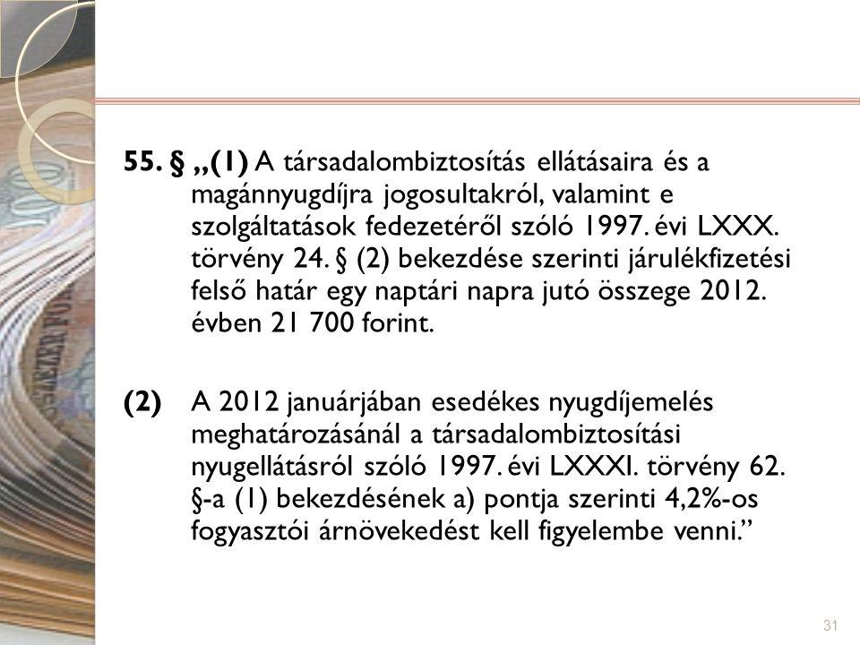 """31 55. § """"(1) A társadalombiztosítás ellátásaira és a magánnyugdíjra jogosultakról, valamint e szolgáltatások fedezetéről szóló 1997. évi LXXX. törvén"""