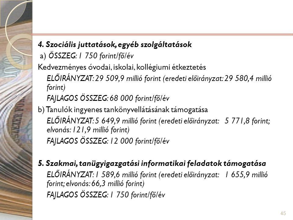 45 4. Szociális juttatások, egyéb szolgáltatások a) ÖSSZEG: 1 750 forint/fő/év Kedvezményes óvodai, iskolai, kollégiumi étkeztetés ELŐIRÁNYZAT: 29 509