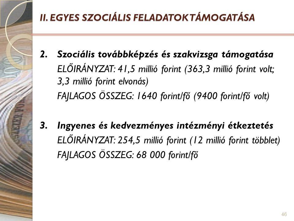 46 II. EGYES SZOCIÁLIS FELADATOK TÁMOGATÁSA 2. Szociális továbbképzés és szakvizsga támogatása ELŐIRÁNYZAT: 41,5 millió forint (363,3 millió forint vo