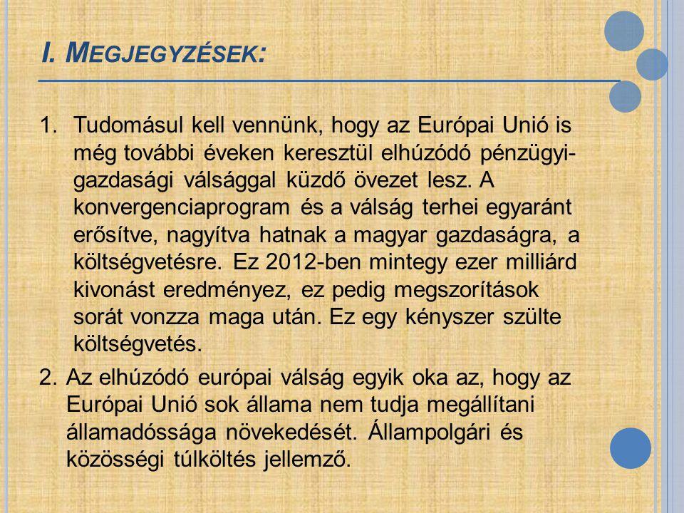 I. M EGJEGYZÉSEK : 1.Tudomásul kell vennünk, hogy az Európai Unió is még további éveken keresztül elhúzódó pénzügyi- gazdasági válsággal küzdő övezet