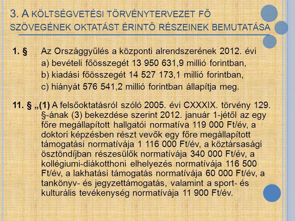 3. A KÖLTSÉGVETÉSI TÖRVÉNYTERVEZET FŐ SZÖVEGÉNEK OKTATÁST ÉRINTŐ RÉSZEINEK BEMUTATÁSA 1. § Az Országgyűlés a központi alrendszerének 2012. évi a) bevé