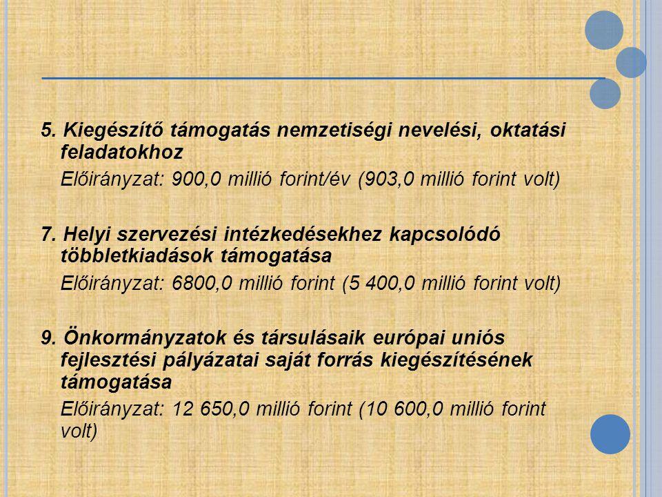 5. Kiegészítő támogatás nemzetiségi nevelési, oktatási feladatokhoz Előirányzat: 900,0 millió forint/év (903,0 millió forint volt) 7. Helyi szervezési