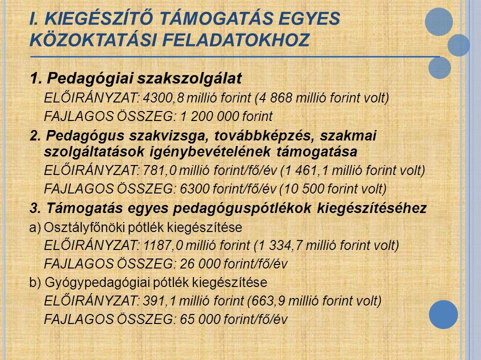 I. KIEGÉSZÍTŐ TÁMOGATÁS EGYES KÖZOKTATÁSI FELADATOKHOZ 1. Pedagógiai szakszolgálat ELŐIRÁNYZAT: 4300,8 millió forint (4 868 millió forint volt) FAJLAG