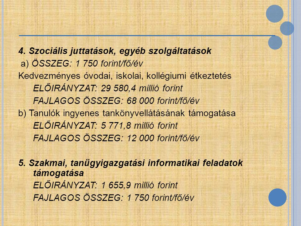 4. Szociális juttatások, egyéb szolgáltatások a) ÖSSZEG: 1 750 forint/fő/év Kedvezményes óvodai, iskolai, kollégiumi étkeztetés ELŐIRÁNYZAT: 29 580,4