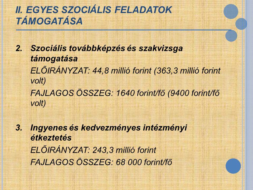 II. EGYES SZOCIÁLIS FELADATOK TÁMOGATÁSA 2. Szociális továbbképzés és szakvizsga támogatása ELŐIRÁNYZAT: 44,8 millió forint (363,3 millió forint volt)