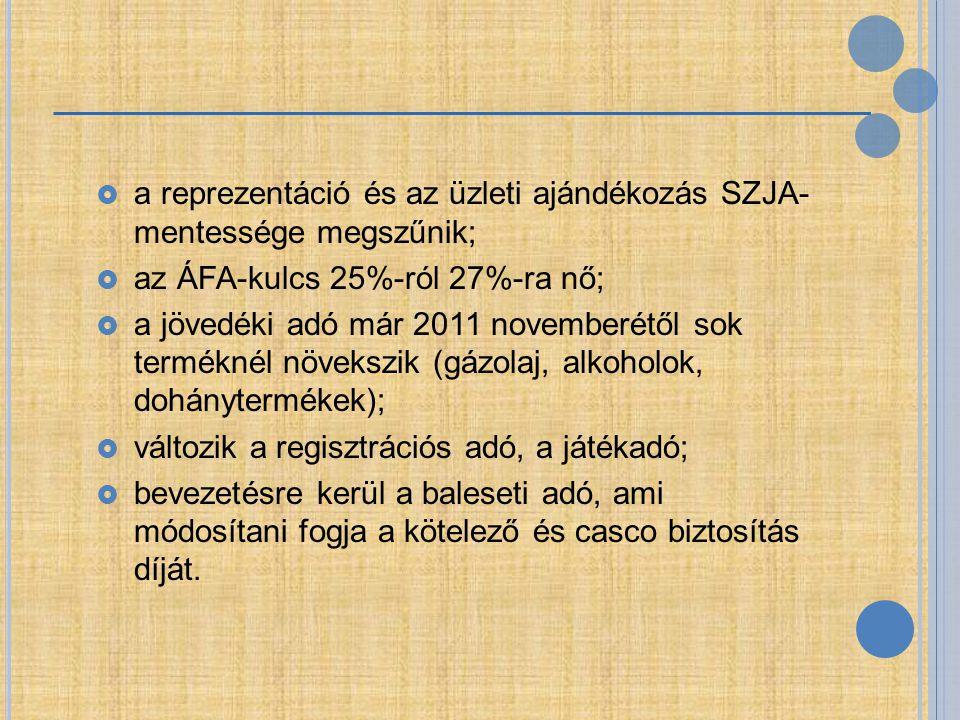  a reprezentáció és az üzleti ajándékozás SZJA- mentessége megszűnik;  az ÁFA-kulcs 25%-ról 27%-ra nő;  a jövedéki adó már 2011 novemberétől sok te