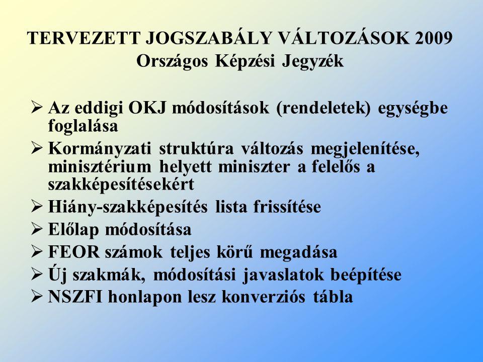 TERVEZETT JOGSZABÁLY VÁLTOZÁSOK 2009 Országos Képzési Jegyzék  Az eddigi OKJ módosítások (rendeletek) egységbe foglalása  Kormányzati struktúra vált