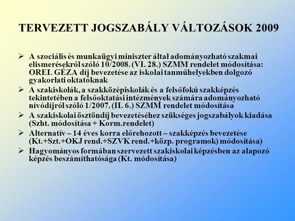 TERVEZETT JOGSZABÁLY VÁLTOZÁSOK 2009  A szociális és munkaügyi miniszter által adományozható szakmai elismerésekről szóló 10/2008. (VI. 28.) SZMM ren