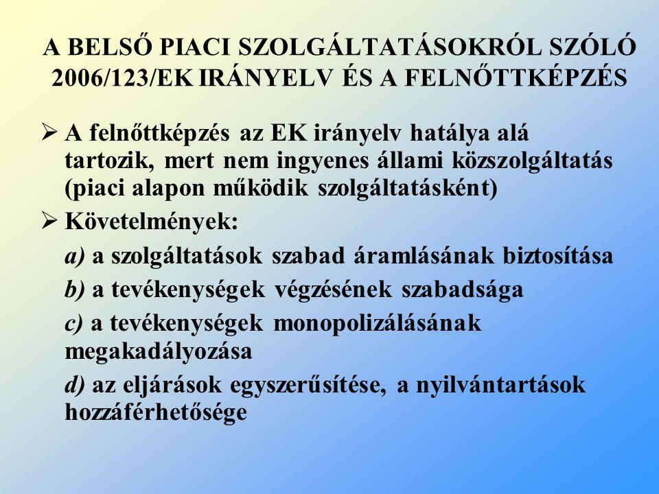 A BELSŐ PIACI SZOLGÁLTATÁSOKRÓL SZÓLÓ 2006/123/EK IRÁNYELV ÉS A FELNŐTTKÉPZÉS  A felnőttképzés az EK irányelv hatálya alá tartozik, mert nem ingyenes