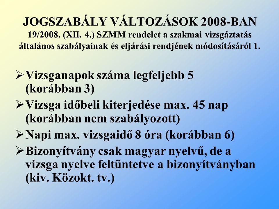 JOGSZABÁLY VÁLTOZÁSOK 2008-BAN 19/2008. (XII. 4.) SZMM rendelet a szakmai vizsgáztatás általános szabályainak és eljárási rendjének módosításáról 1. 