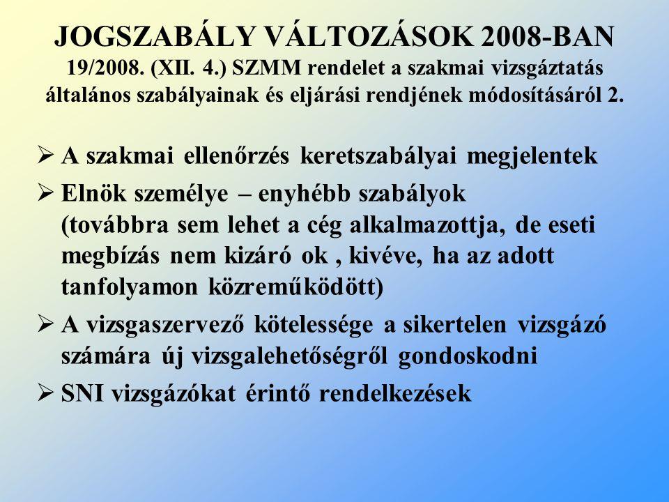 JOGSZABÁLY VÁLTOZÁSOK 2008-BAN 19/2008. (XII. 4.) SZMM rendelet a szakmai vizsgáztatás általános szabályainak és eljárási rendjének módosításáról 2. 
