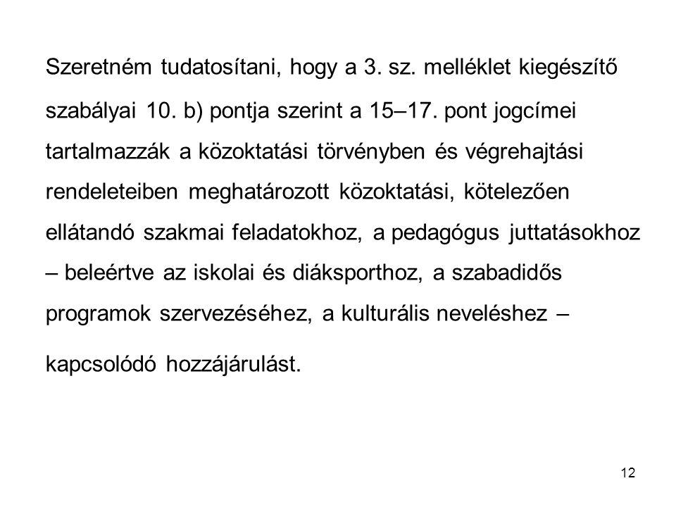 12 Szeretném tudatosítani, hogy a 3. sz. melléklet kiegészítő szabályai 10. b) pontja szerint a 15–17. pont jogcímei tartalmazzák a közoktatási törvén
