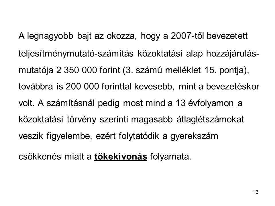 13 A legnagyobb bajt az okozza, hogy a 2007-től bevezetett teljesítménymutató-számítás közoktatási alap hozzájárulás- mutatója 2 350 000 forint (3. sz