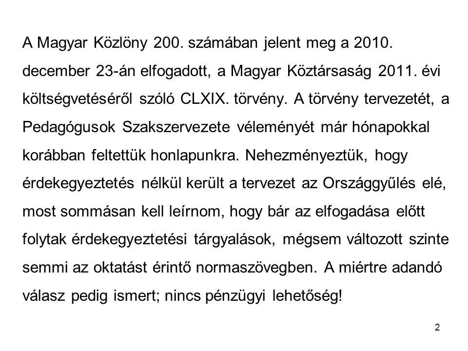 2 A Magyar Közlöny 200. számában jelent meg a 2010. december 23-án elfogadott, a Magyar Köztársaság 2011. évi költségvetéséről szóló CLXIX. törvény. A