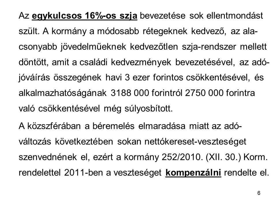 7 A kompenzáció összege 100 forinttól 12 300 forintig terjed, és 293 400 forint illetményig jár.