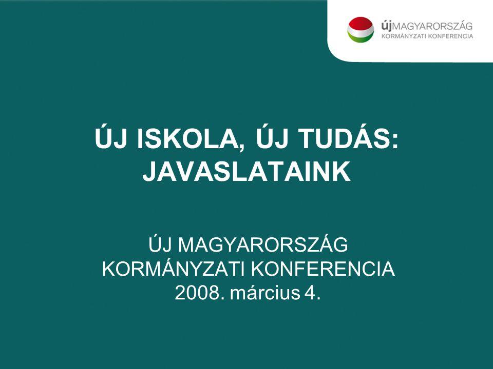 ÚJ ISKOLA, ÚJ TUDÁS: JAVASLATAINK ÚJ MAGYARORSZÁG KORMÁNYZATI KONFERENCIA 2008. március 4.