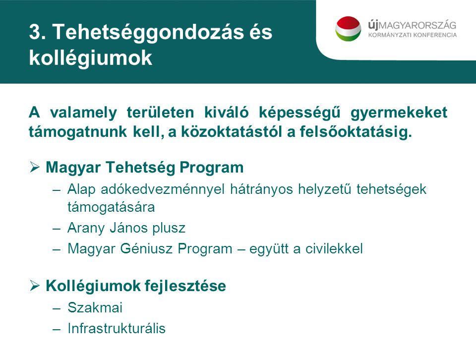 3. Tehetséggondozás és kollégiumok A valamely területen kiváló képességű gyermekeket támogatnunk kell, a közoktatástól a felsőoktatásig.  Magyar Tehe