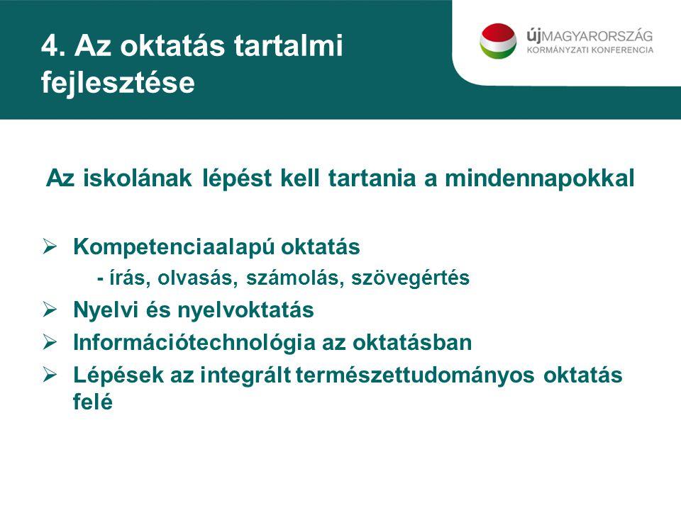 4. Az oktatás tartalmi fejlesztése Az iskolának lépést kell tartania a mindennapokkal  Kompetenciaalapú oktatás - írás, olvasás, számolás, szövegérté