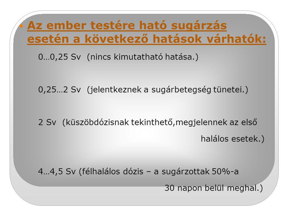 Az ember testére ható sugárzás esetén a következő hatások várhatók: 0…0,25 Sv (nincs kimutatható hatása.) 0,25…2 Sv (jelentkeznek a sugárbetegség tüne