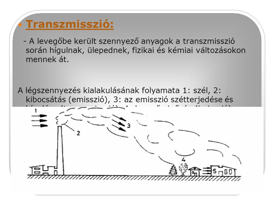 Transzmisszió: - A levegőbe került szennyező anyagok a transzmisszió során hígulnak, ülepednek, fizikai és kémiai változásokon mennek át. A légszennye
