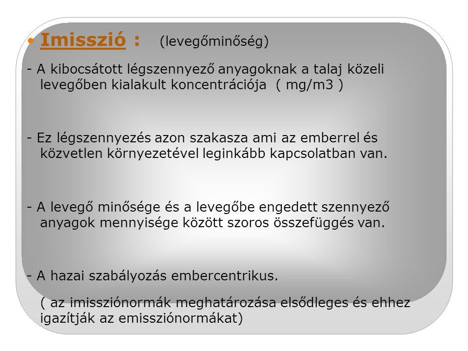 Imisszió : (levegőminőség) - A kibocsátott légszennyező anyagoknak a talaj közeli levegőben kialakult koncentrációja ( mg/m3 ) - Ez légszennyezés azon