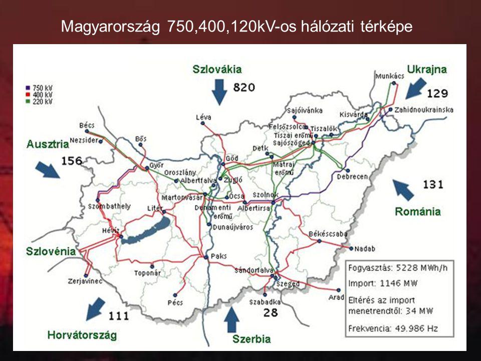 Magyarország 750,400,120kV-os hálózati térképe