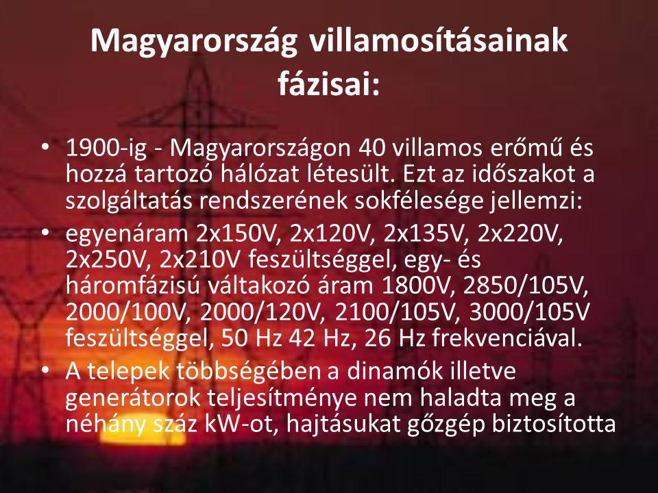 Magyarország villamosításainak fázisai: 1900-ig - Magyarországon 40 villamos erőmű és hozzá tartozó hálózat létesült. Ezt az időszakot a szolgáltatás