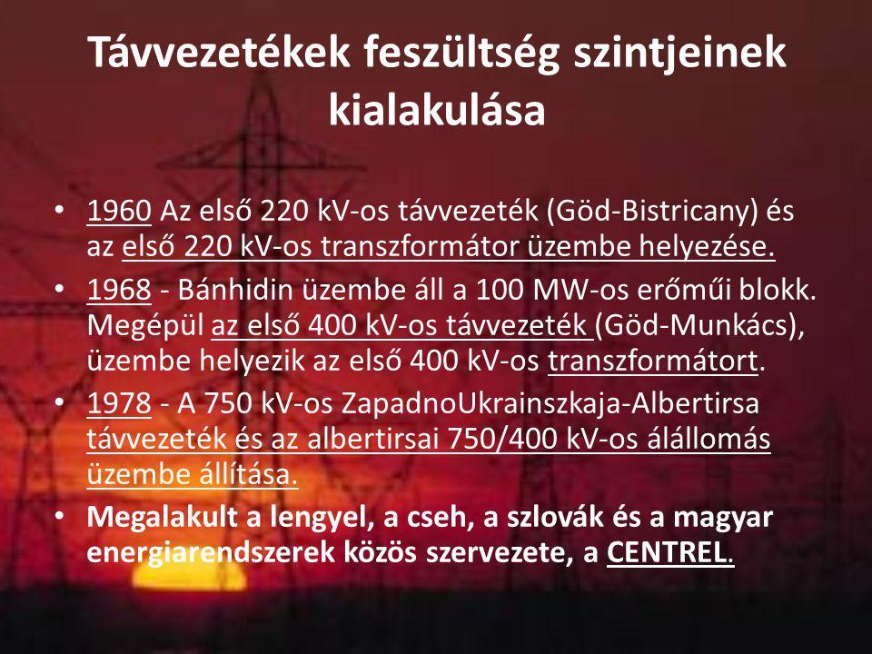 Távvezetékek feszültség szintjeinek kialakulása 1960 Az első 220 kV-os távvezeték (Göd-Bistricany) és az első 220 kV-os transzformátor üzembe helyezés