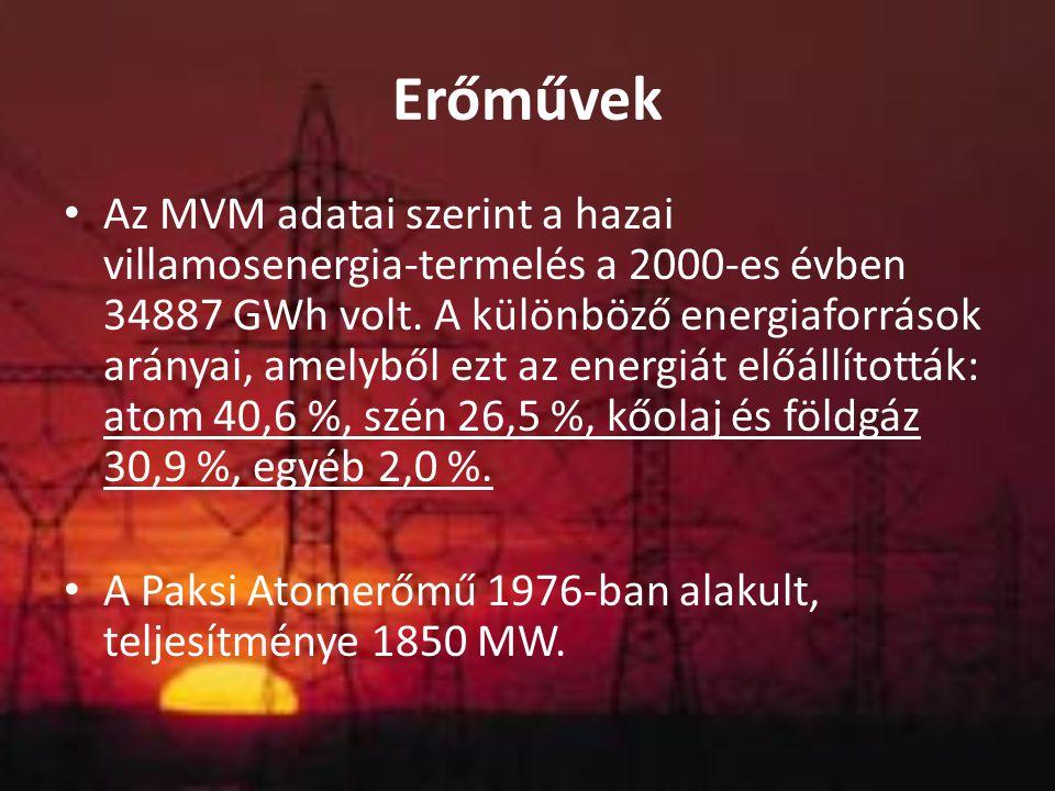 Erőművek Az MVM adatai szerint a hazai villamosenergia-termelés a 2000-es évben 34887 GWh volt. A különböző energiaforrások arányai, amelyből ezt az e