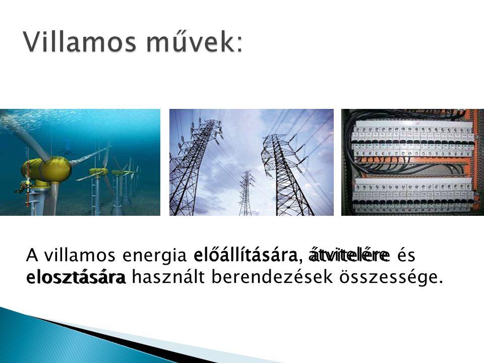 A villamos energia előállítására, átvitelére és elosztására használt berendezések összessége. előállításáraátvitelére elosztására