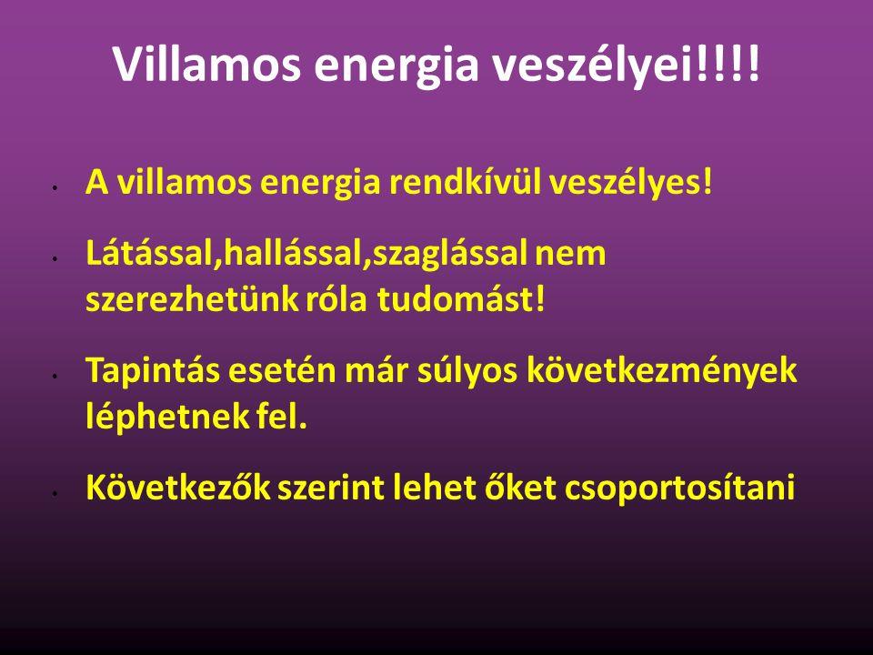 Villamos energia veszélyei!!!! A villamos energia rendkívül veszélyes! Látással,hallással,szaglással nem szerezhetünk róla tudomást! Tapintás esetén m