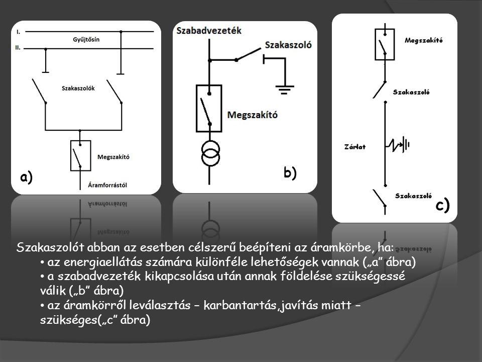 A szakaszolók felépítése Főbb részei: - a főáramkör, amelynek legfőbb elemei a csatlakozók, az érintkezőrendszerek, az áramvezető sínek; - tartó- és a mozgatószerkezet, ezen belül az állvány, a csapágyak, a belső rudazatok, a hajtás- és a mozgatószigetelő összekötése, a földelőkés és tartószerkezete; - a reteszelés a főáramkör és a földelőkés között; - a hajtás- és a segédérintkező egység.