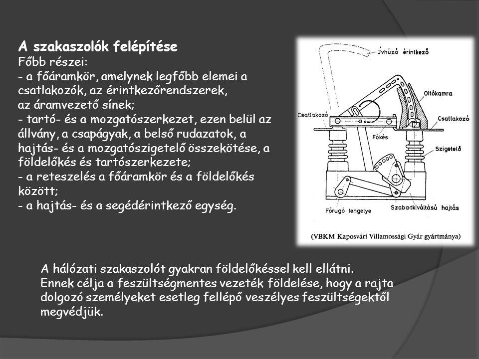 A szakaszolók felépítése Főbb részei: - a főáramkör, amelynek legfőbb elemei a csatlakozók, az érintkezőrendszerek, az áramvezető sínek; - tartó- és a