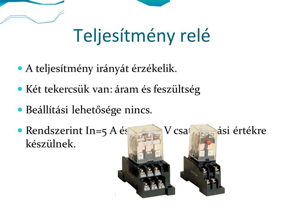 Impedanciacsökkenési relé Két tekercsük van: áram és feszültség Nyomatékukat a feszültség és áram szabja meg.