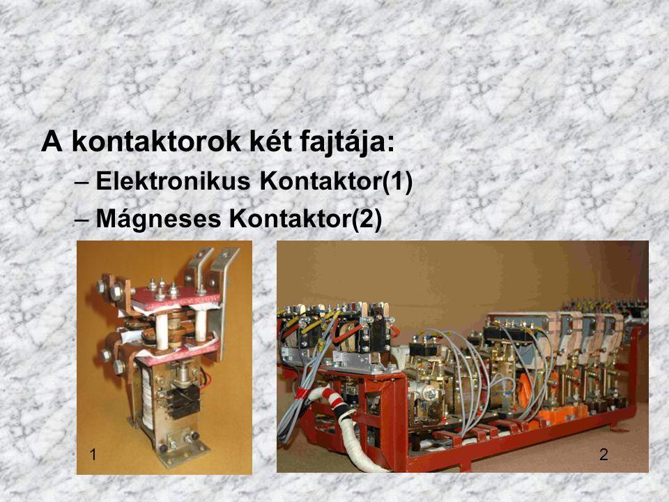 A kontaktorok két fajtája: –Elektronikus Kontaktor(1) –Mágneses Kontaktor(2) 12