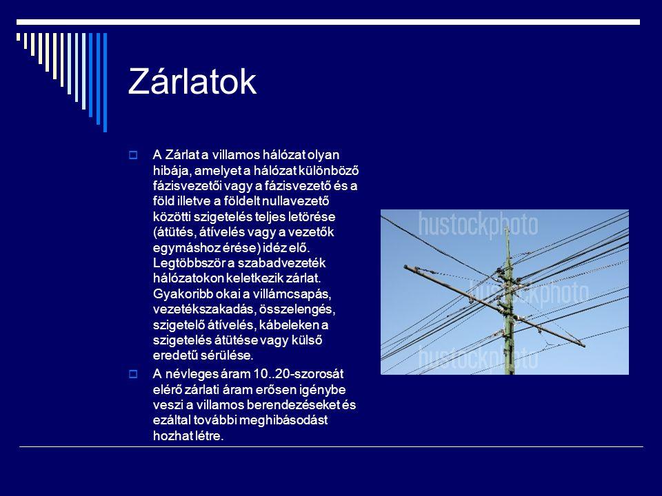 Zárlatok  A Zárlat a villamos hálózat olyan hibája, amelyet a hálózat különböző fázisvezetői vagy a fázisvezető és a föld illetve a földelt nullavezető közötti szigetelés teljes letörése (átütés, átívelés vagy a vezetők egymáshoz érése) idéz elő.