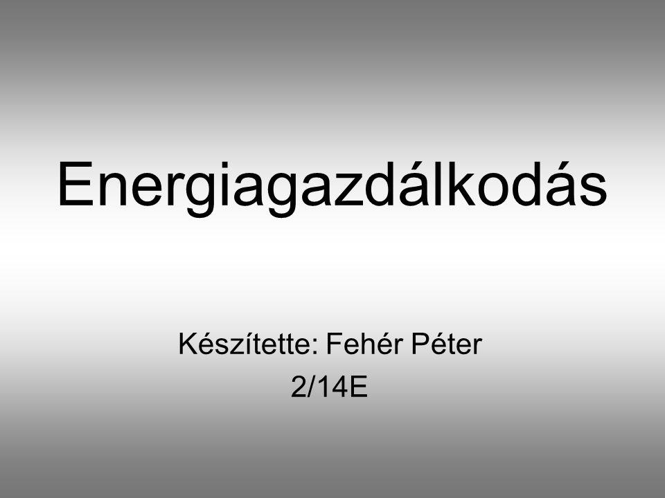 Energiagazdálkodás Készítette: Fehér Péter 2/14E