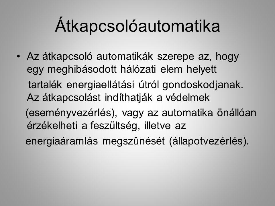Átkapcsolóautomatika Az átkapcsoló automatikák szerepe az, hogy egy meghibásodott hálózati elem helyett tartalék energiaellátási útról gondoskodjanak.