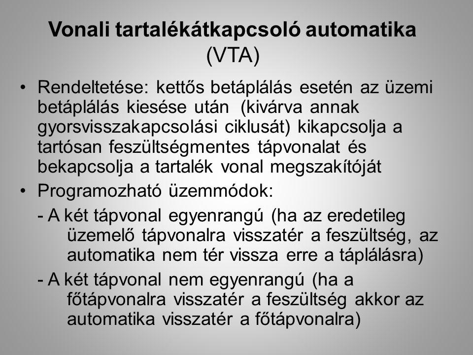 Vonali tartalékátkapcsoló automatika (VTA) Rendeltetése: kettős betáplálás esetén az üzemi betáplálás kiesése után (kivárva annak gyorsvisszakapcsolás