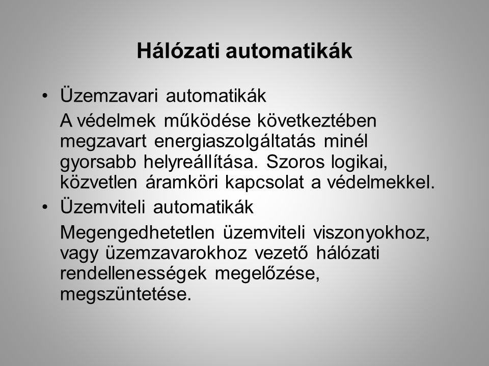 Üzemzavari automatikák Visszakapcsoló: Kétlépcsős:0,6 mp után 73% siker ~30 mp után17% siker Egy- vagy háromfázisú (EVA, HVA) Átkapcsoló: tartalékra való átkapcsolás Esemény- vagy állapotvezérlés Rendszer automatika: termelés-fogyasztás egyensúlyának megbomlása esetén több lépcsős kikapcsolás