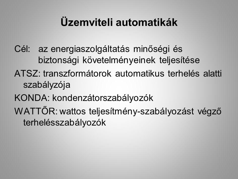 Üzemviteli automatikák Cél: az energiaszolgáltatás minőségi és biztonsági követelményeinek teljesítése ATSZ: transzformátorok automatikus terhelés ala