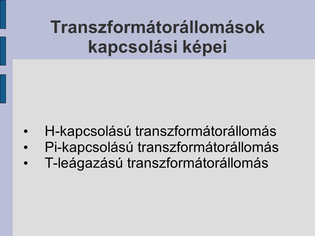 Transzformátorállomások kapcsolási képei H-kapcsolású transzformátorállomás Pi-kapcsolású transzformátorállomás T-leágazású transzformátorállomás