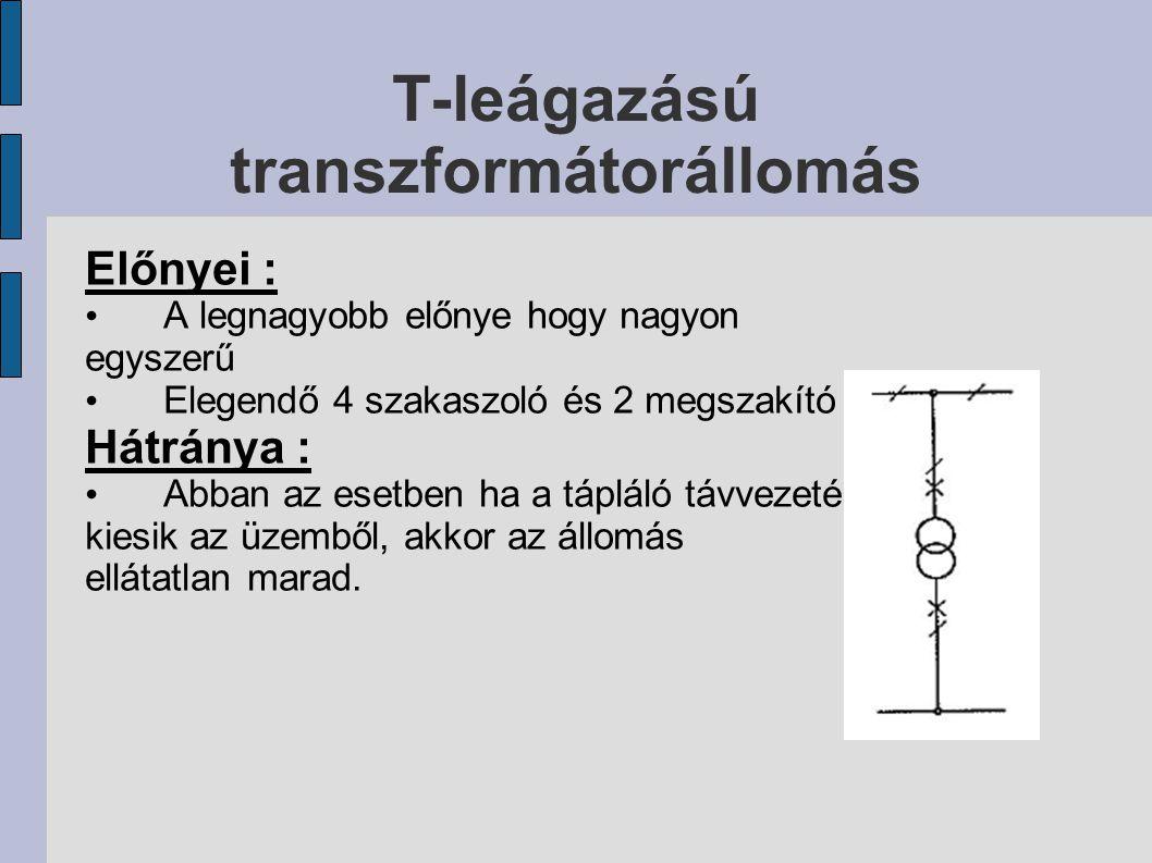 T-leágazású transzformátorállomás Előnyei : A legnagyobb előnye hogy nagyon egyszerű Elegendő 4 szakaszoló és 2 megszakító Hátránya : Abban az esetben