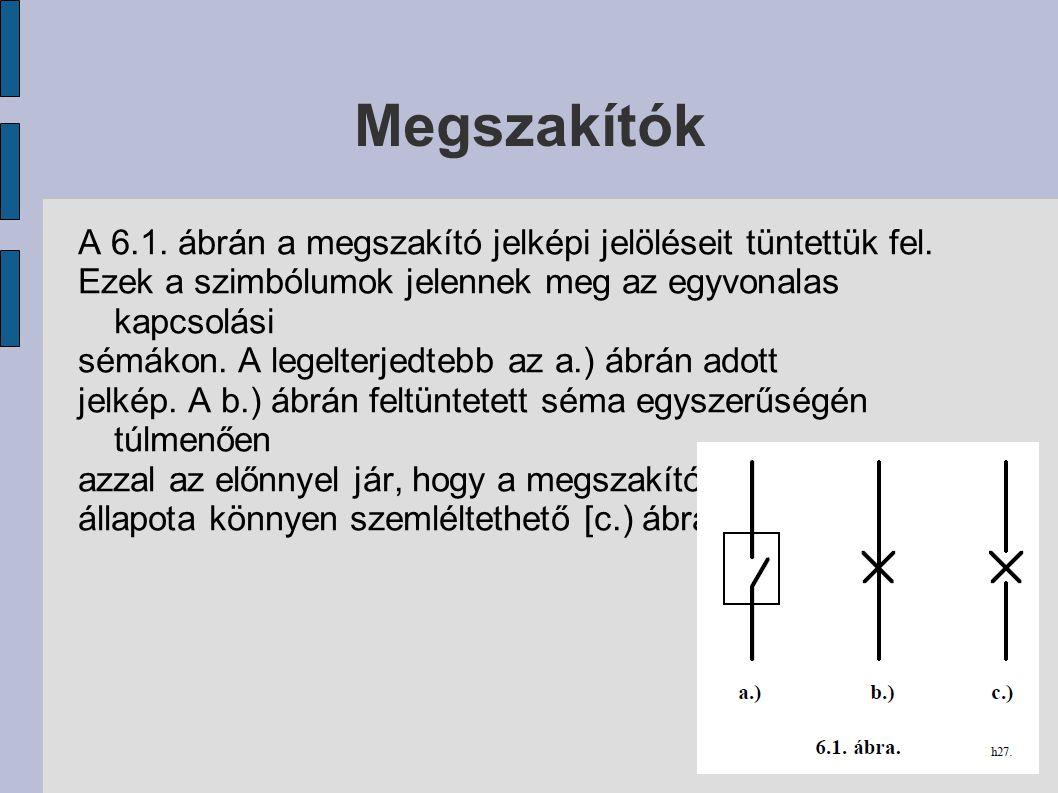 Megszakítók A 6.1. ábrán a megszakító jelképi jelöléseit tüntettük fel. Ezek a szimbólumok jelennek meg az egyvonalas kapcsolási sémákon. A legelterje