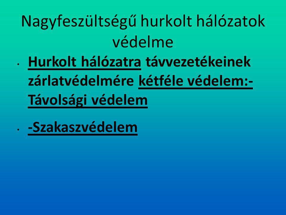 Nagyfeszültségű hurkolt hálózatok védelme Hurkolt hálózatra távvezetékeinek zárlatvédelmére kétféle védelem:- Távolsági védelem -Szakaszvédelem